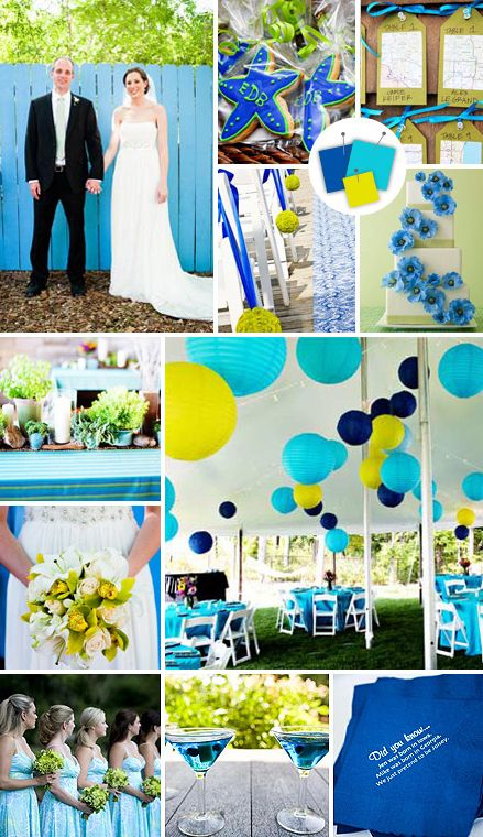 Turquoise Royal Blue Lime Green Beach Wedding Color Palette