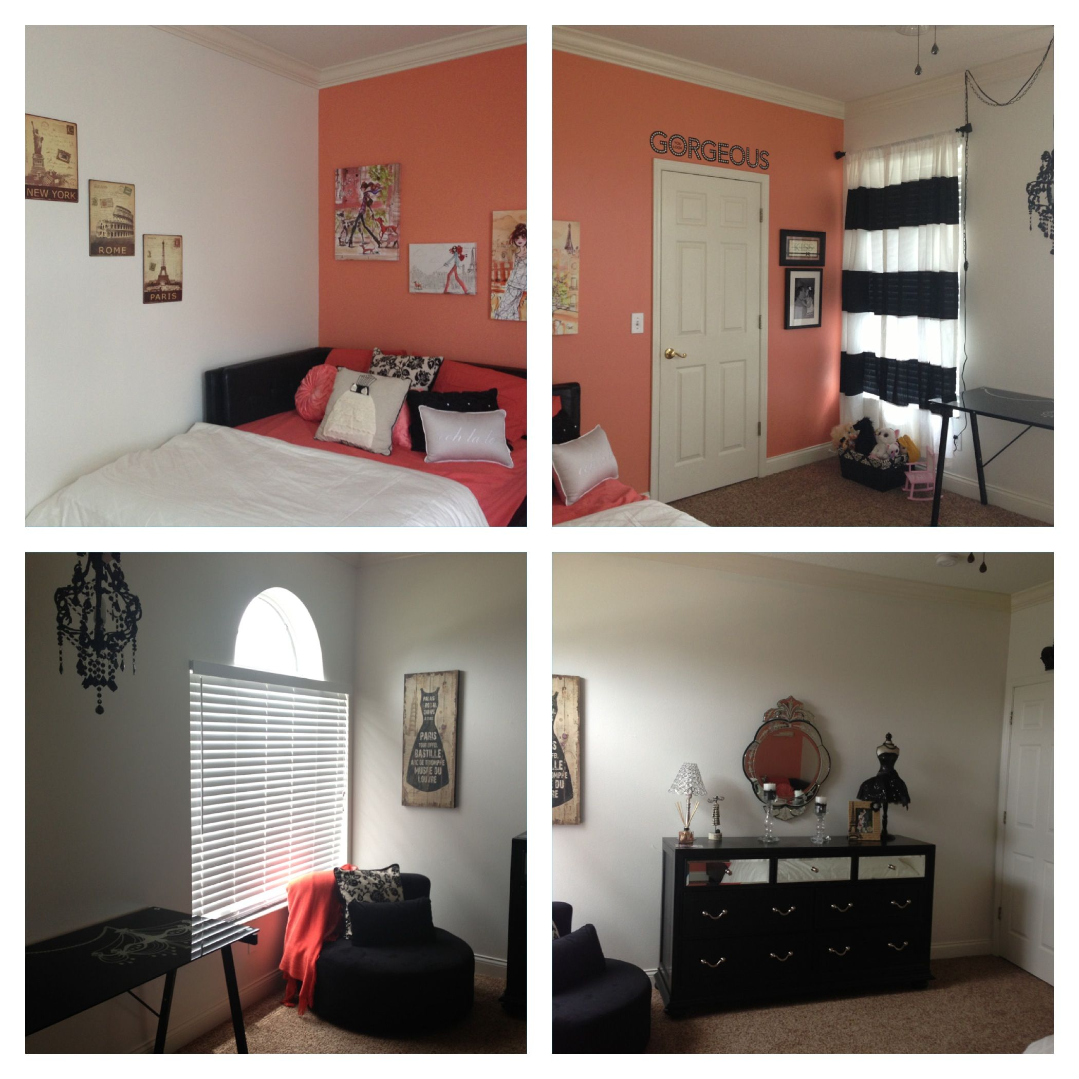 Kayton's bedroom. Black, white and coral girls room. Beautiful little girls  room