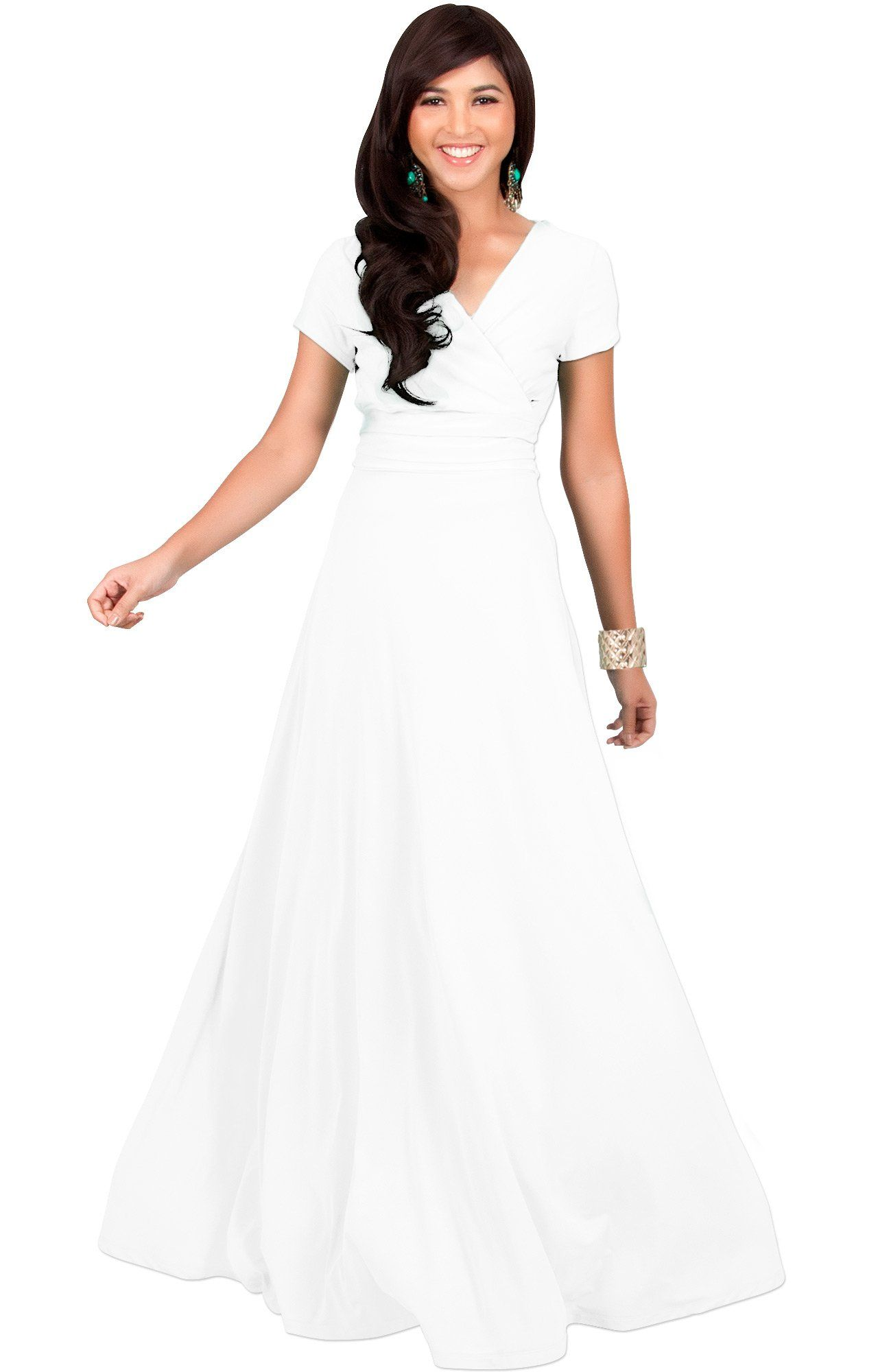 984e81c022 KOH KOH Womens Long Cap Short Sleeve Vneck Flowy Cocktail Slimming Summer  Sexy Casual Formal Sun Sundress Work Cute Gown Gowns Maxi Dress Dresses  Ivory ...