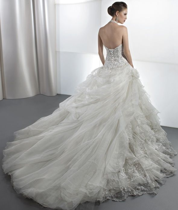 Organza Ball Gown Bridal Gowns Beading Tiered Halter Sleeveless Floor Length With Chapel Train