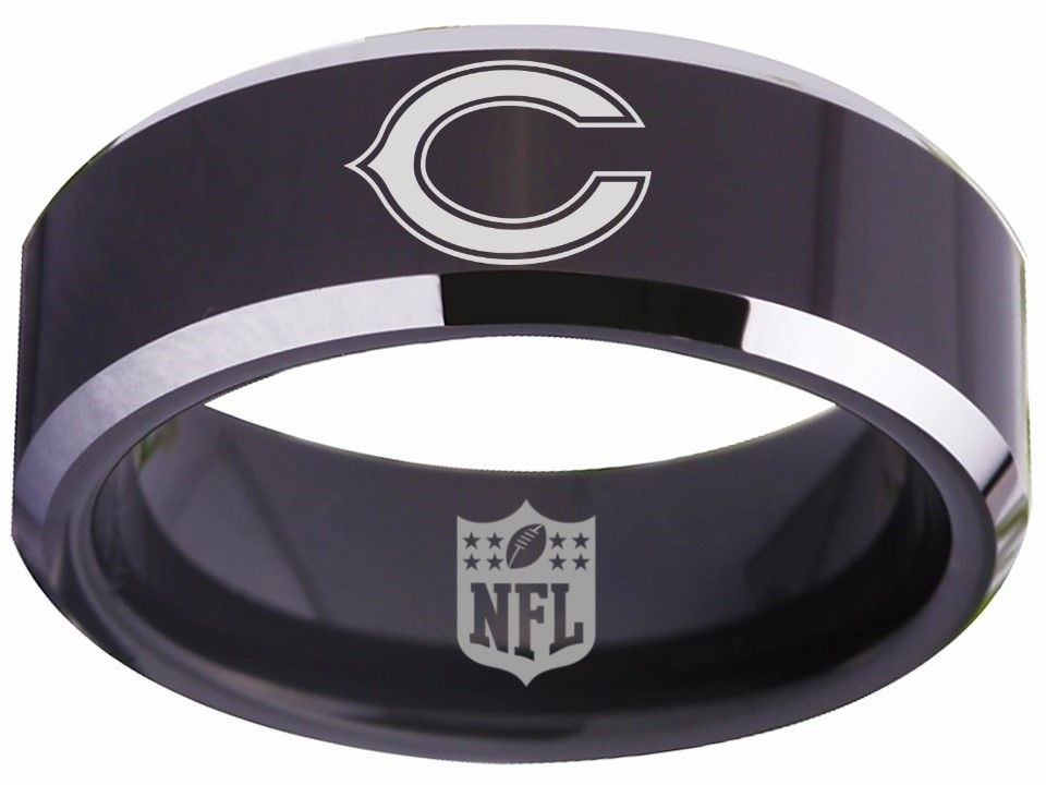 Chicago Bears Ring Black 8mm Tungsten Ring Sizes 5 15 Available Chicago Bears Chicagobears Chitown Nfl Cus 8mm Tungsten Ring Black Rings Chicago Bears