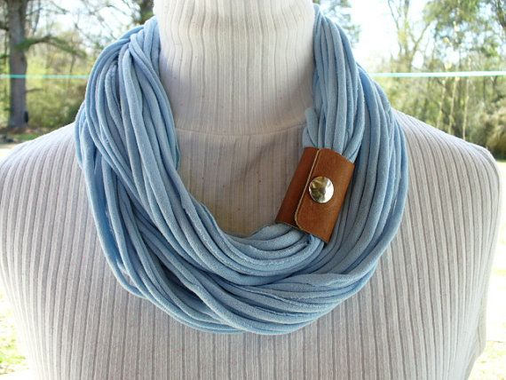 Light Blue Infinity T Shirt Scarf with Leather Cuff
