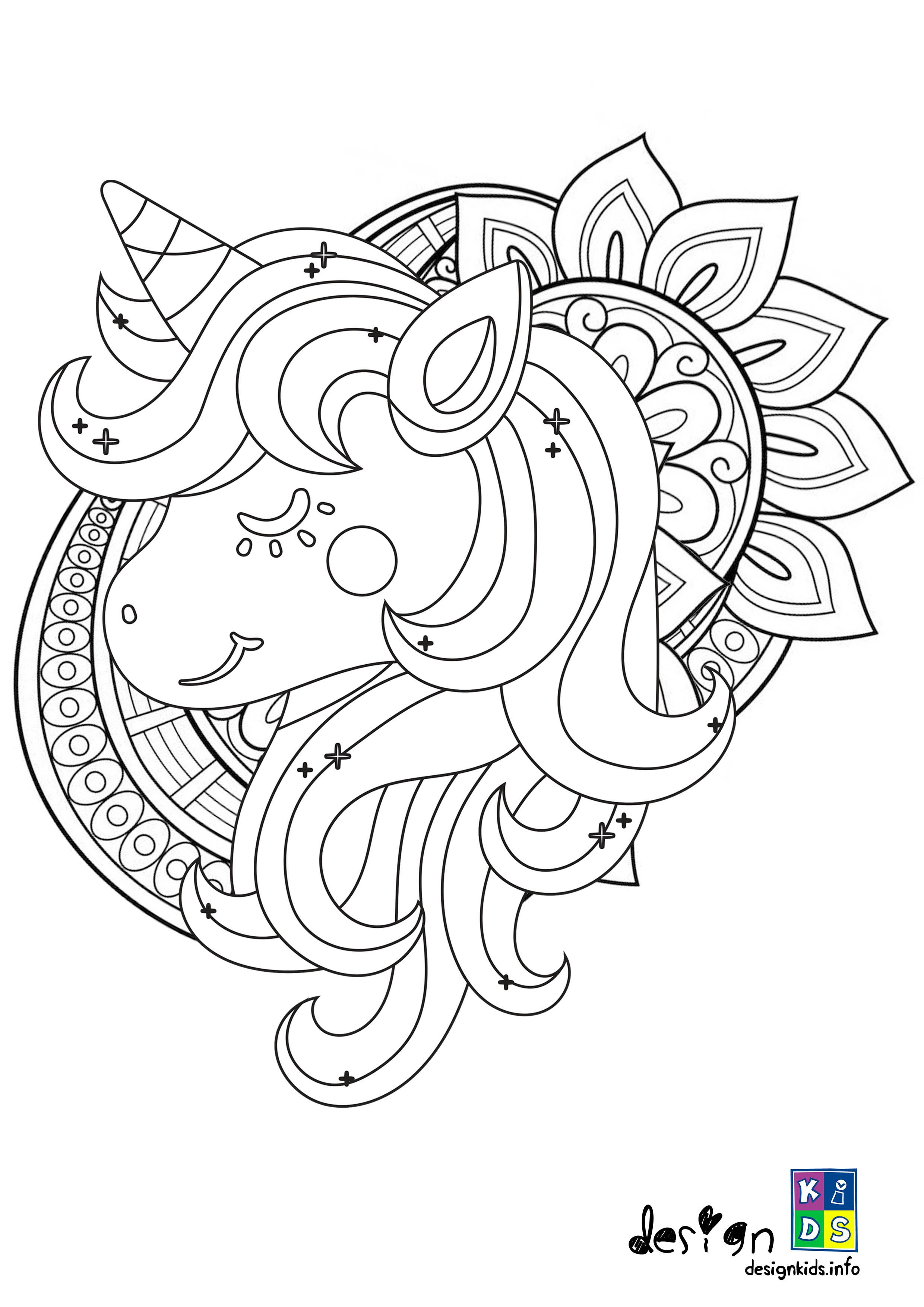 Cute Unicorn Mandala Coloring Page Designkids Make Your World More Colorful With Free Pr Mandala Coloring Pages Baseball Coloring Pages Unicorn Coloring Pages