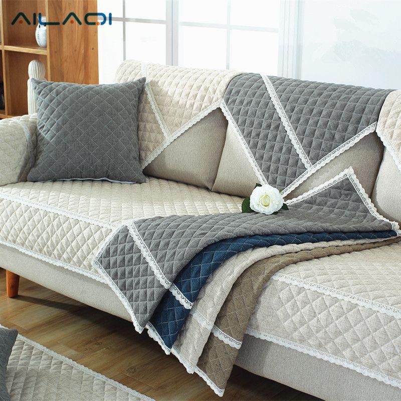 Ailaqi 100 Cotton Sofa Cover For Living Room Soft Non Slip L Shaped Custom Slipcover Modern High Quality Corner So Decoracao Para Sofa Capa De Sofa Almofadas