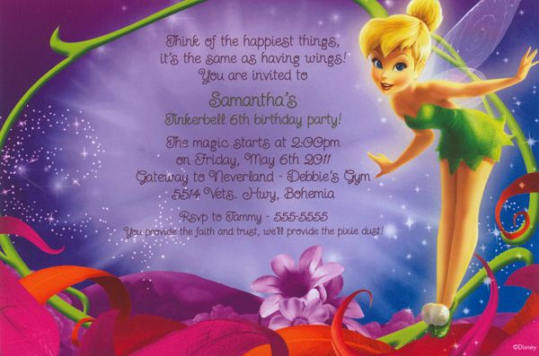 Disney peter pans tinkerbell birthday invitation can be used for disney peter pans tinkerbell birthday invitation can be used for any occasion by www bookmarktalkfo Image collections