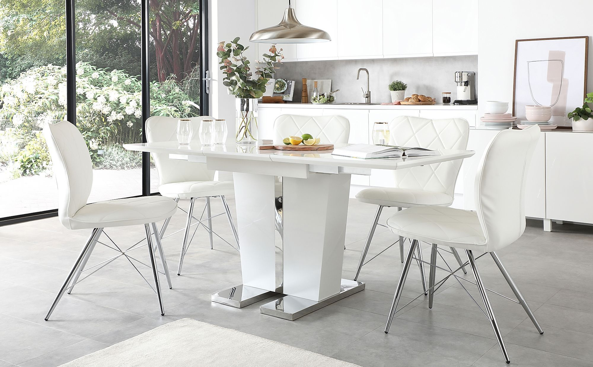 Vienna White High Gloss Extending Dining Table With 4 Lucca White