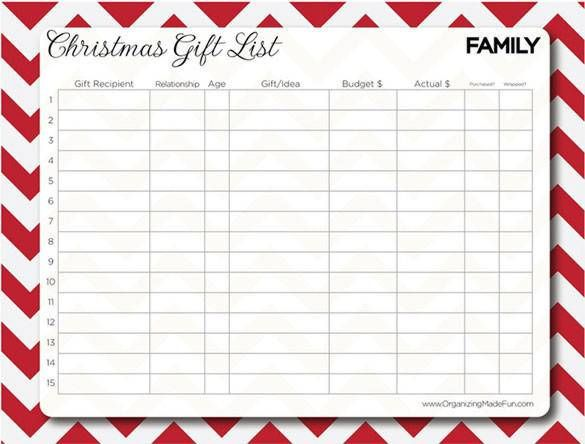 Christmas Family Gift List Printable , 24+ Christmas Wish List