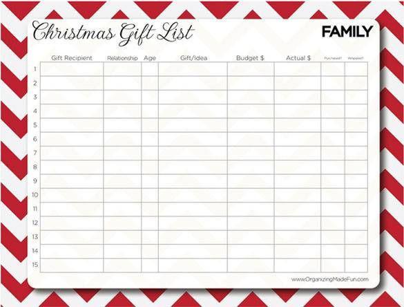 Christmas Family Gift List Printable 24 Christmas Wish List – Christmas Wishlist Template