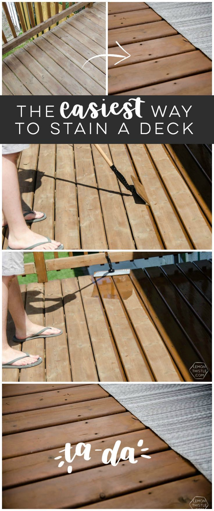 The Easiest Way To Stain A Deck Staining Deck Diy Deck Wooden Decks
