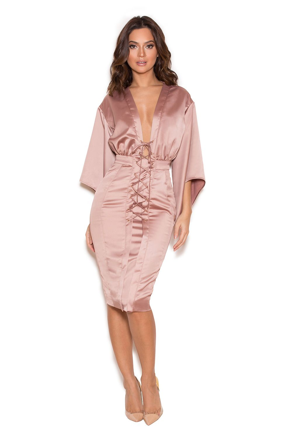 Clothing : Bodycon Dresses : \'Eliott\' Rose Gold Satin Lace Up Dress ...