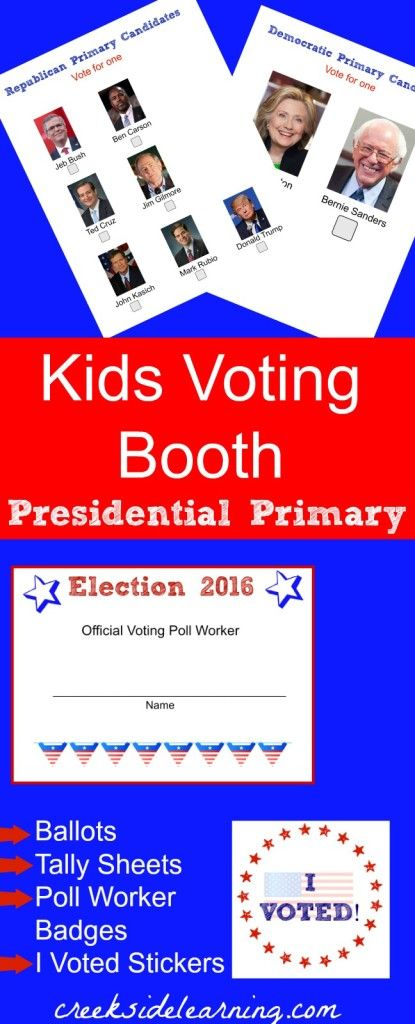 Elections for Kids: Presidential Primary 2016 | Social studies ...