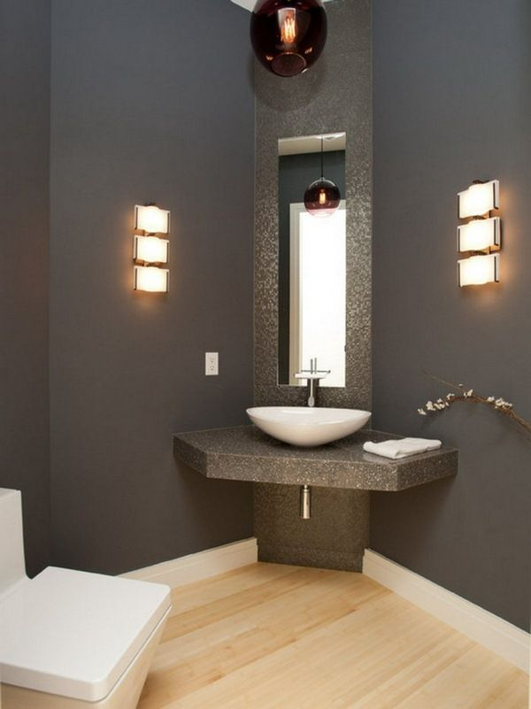 Corner Washbasin Bathroom Modern Dark Walls Wall Mirror Corner Bathroom Vanity Corner Sink Bathroom Powder Room Ideas Half Baths