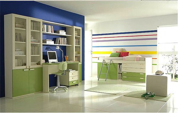 Bedroom, Cool Minimalist Full Color Kids Room Design Ideas: Blue Color  Scheme As A