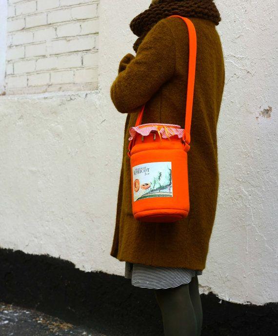 Handmade apricot jam jar handbag by krukrustudio on etsy