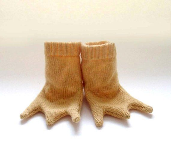 Knitted Baby Chicken Feet Booties Handmade by TheMiniatureKnitShop ...