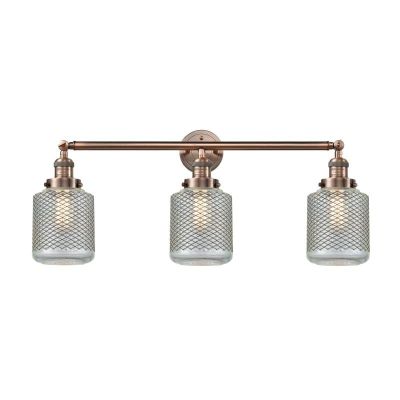 Photo of Innovations Lighting 205-S Stanton Stanton 3 Light 32″ Wide Bathroom Vanity Ligh Antique Copper / Wire Mesh Indoor Lighting Bathroom Fixtures Vanity