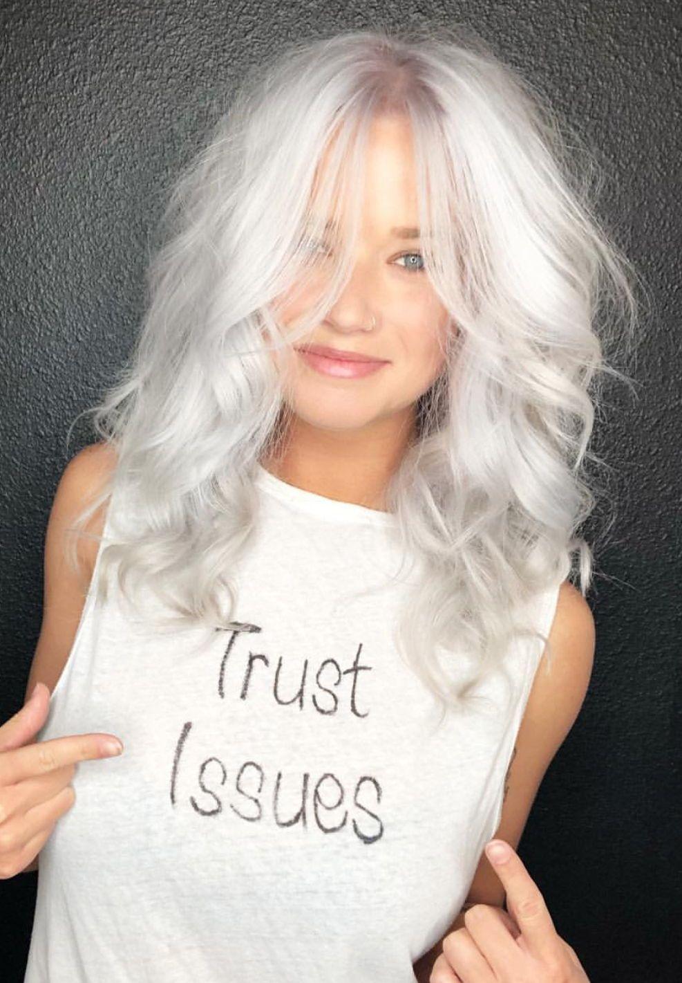 Platinum blonde silver hair color haircolor platinumblonde