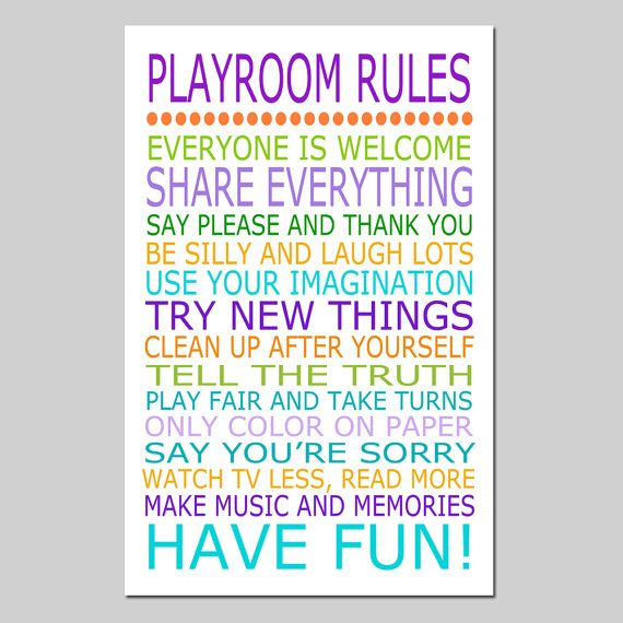 Playroom Rules  11x17 Quote Print  Modern Nursery by Tessyla, $28.00