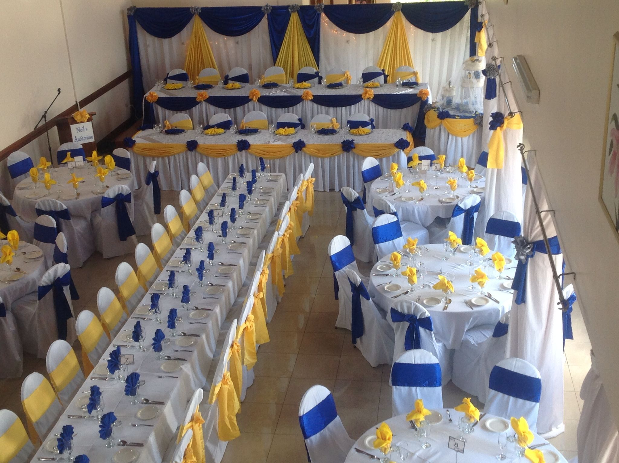 Wedding Decorations Yellow And Blue Hall Royal Blue And