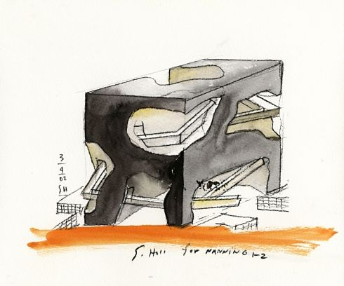 Steven Holl Architect Sketch for Nanning Chaina 2002