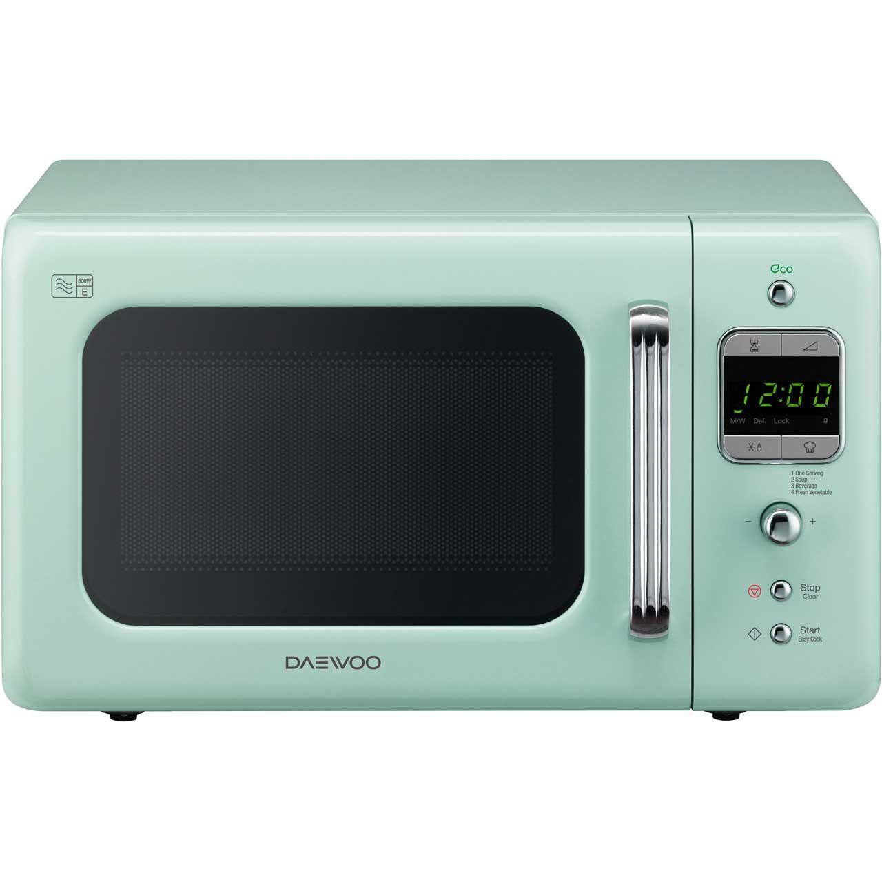 Daewoo Retro Style KOR7LBKM Standard Microwave Oven - Mint | Robot ...