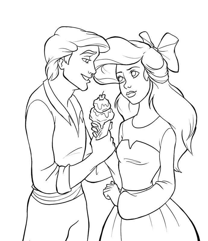 Ariel And Eric The Little Mermaid Coloring Pages | Drawing ...