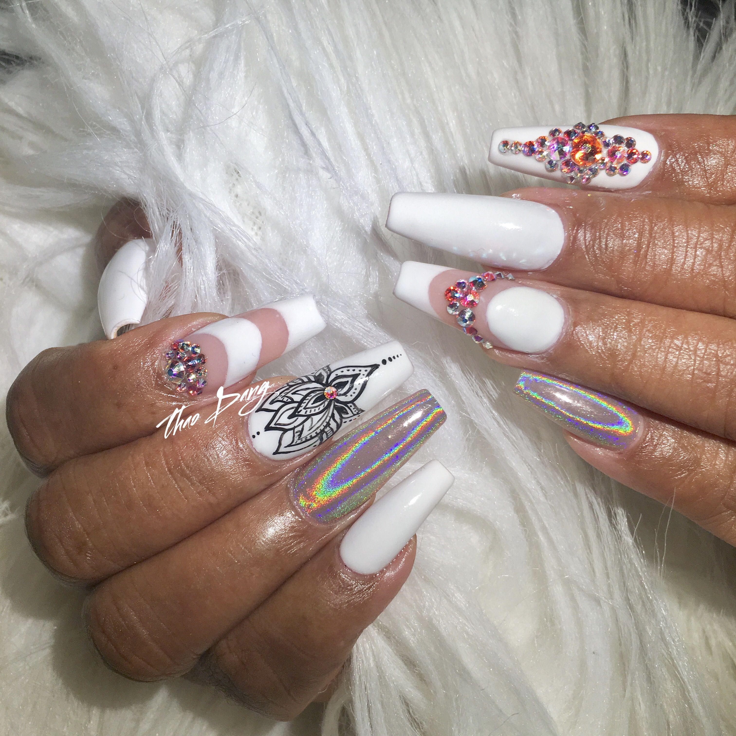 Hand painted lotus flower nail art   Nail Art   Pinterest   Flower ...