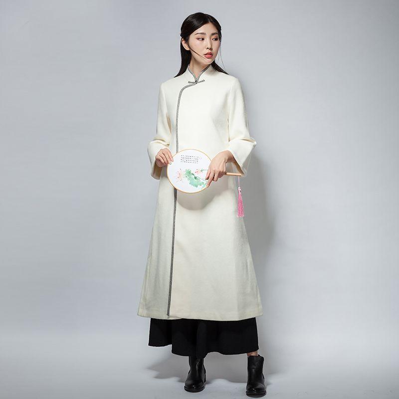 1060730c0fdf5 チャイナ風アウター ラシャ チャイナ風服 唐装 漢服 トレンチコート チャイナボタン ホワイト 長袖 スタンド