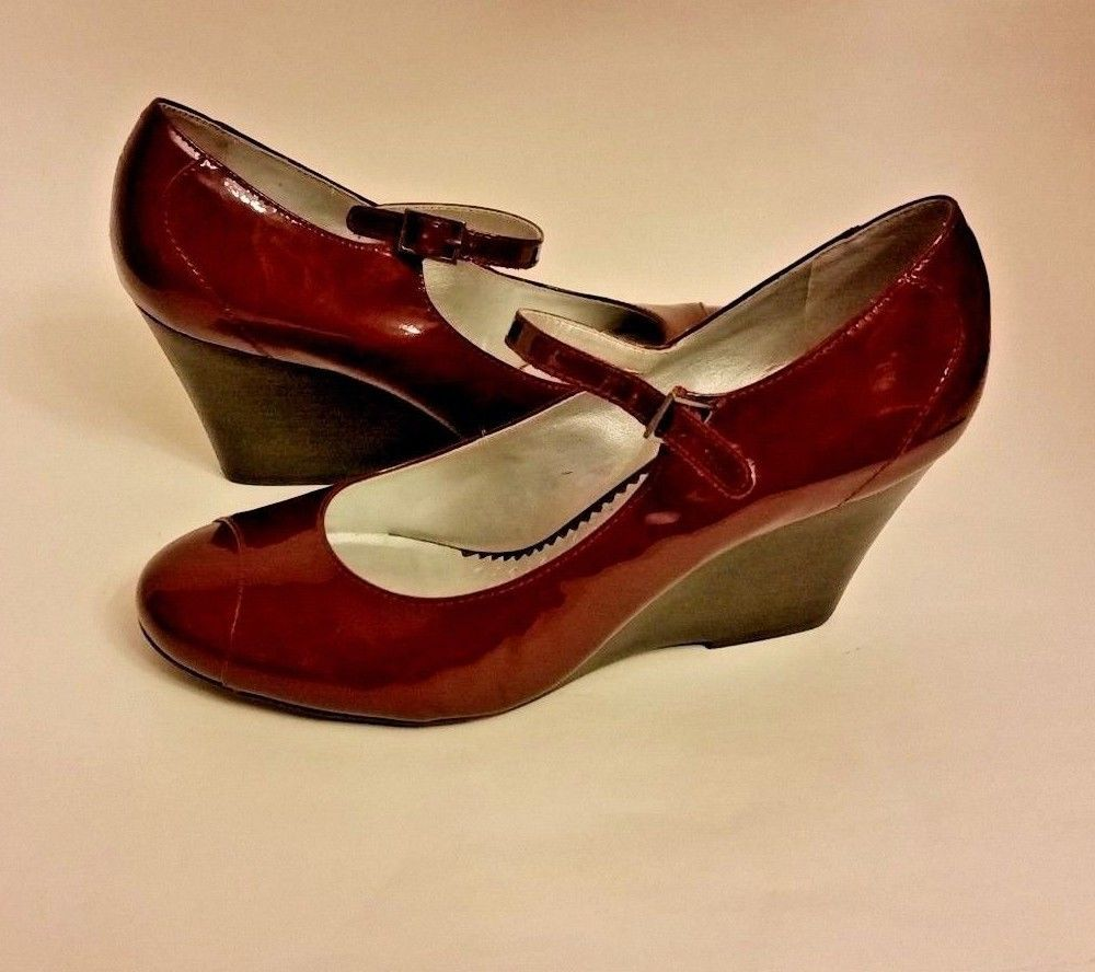 Rockport Womens Ladies 7M Maroon Patent Leather Wedge Heels Shoes Made In Brazil #Rockport #PlatformsWedges #Casual