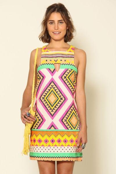 vestido quadradinho guarani | atuendos estampados en 2019