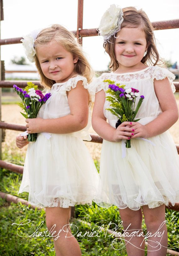 The Charlotte - Ivory, Lace, Chiffon Flower Girl Dress, made for girls, toddlers, ages 1T, 2T,3T,4T, 5T, 6, 7, 8, 9/10 on Etsy, $68.95
