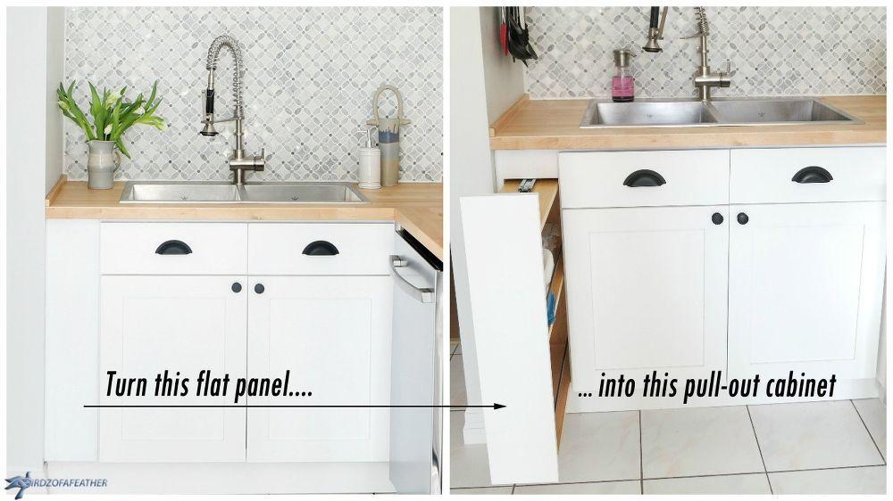 Diy Hidden Kitchen Storage Turn A Filler Panel Into A Pull Out Cabinet Hidden Kitchen Kitchen Organization Diy Diy Kitchen