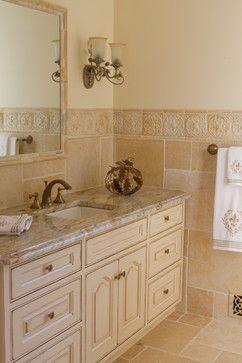 Traditional Glazed Off White Bathroom Vanity White Vanity