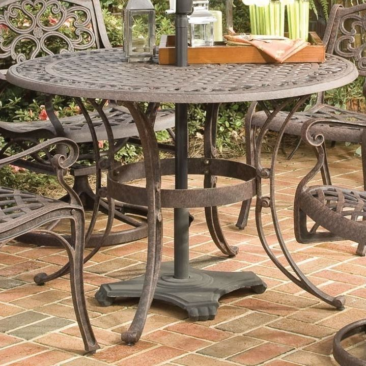 48 Inch Round Outdoor Patio Table In Rust Brown Metal With Umbrella Hole