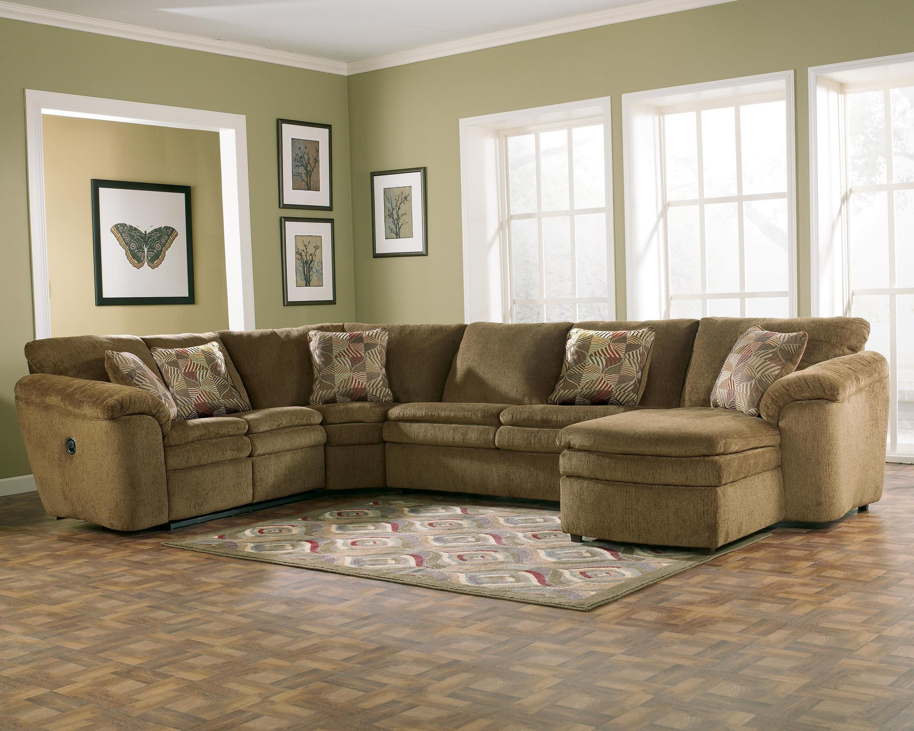 Rebel Mocha Sofa Sectional Group with Left Recliner and Right