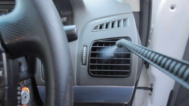 Steam Clean Car Interior >> Air Conditioning Vent Cleaning With Steam Vapour In A Car