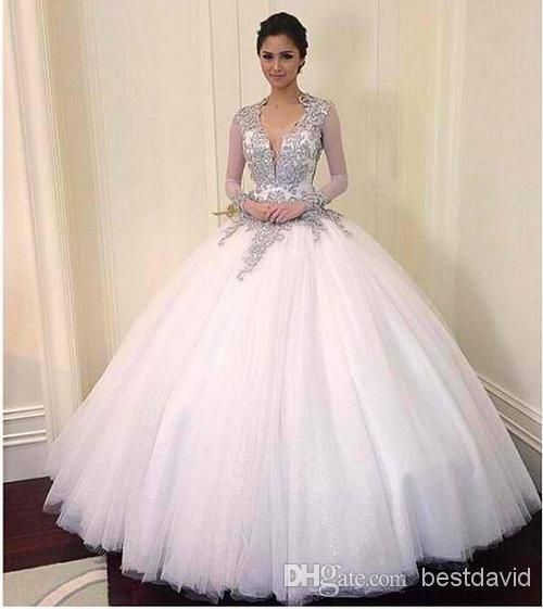 Bling Bling Ball Gown Wedding Dresses Crystals Sheer Long Sleeves ...