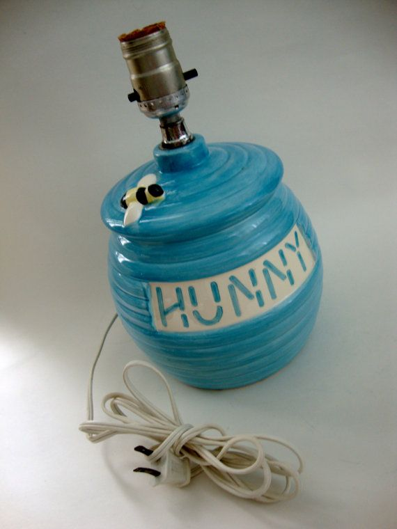Vintage Winnie The Pooh Honey Hunny Pot Lamp Bedside Night