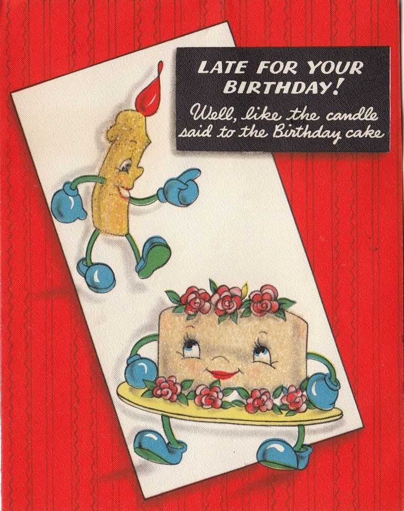 Vintage Greeting Card Anthropomorphic Glitter Cake Candle Hallmark