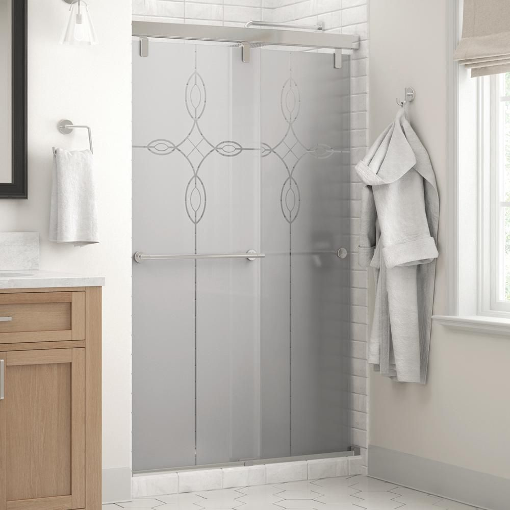 Delta Everly 48 X 71 1 2 In Frameless Mod Soft Close Sliding Shower Door In Chrome With 1 4 In 6mm Tranquility Glass Sd3442010 Shower Doors Tub Shower Doors Bathtub Doors