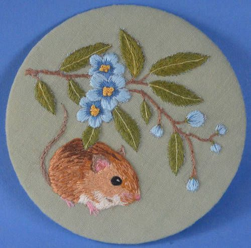 Mouse with flowering branch - NEEDLEWORK