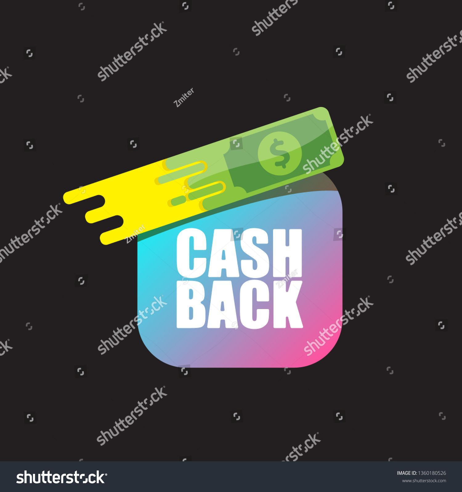 vector cash back icon with dollar isolated on black background cashback or money refund label or logo ad paid dollar isolat in 2020 back icon poster design icon pinterest