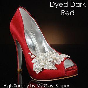 My Glass Slipper High Society White Ivory Wedding Shoes Dyed Dark Red