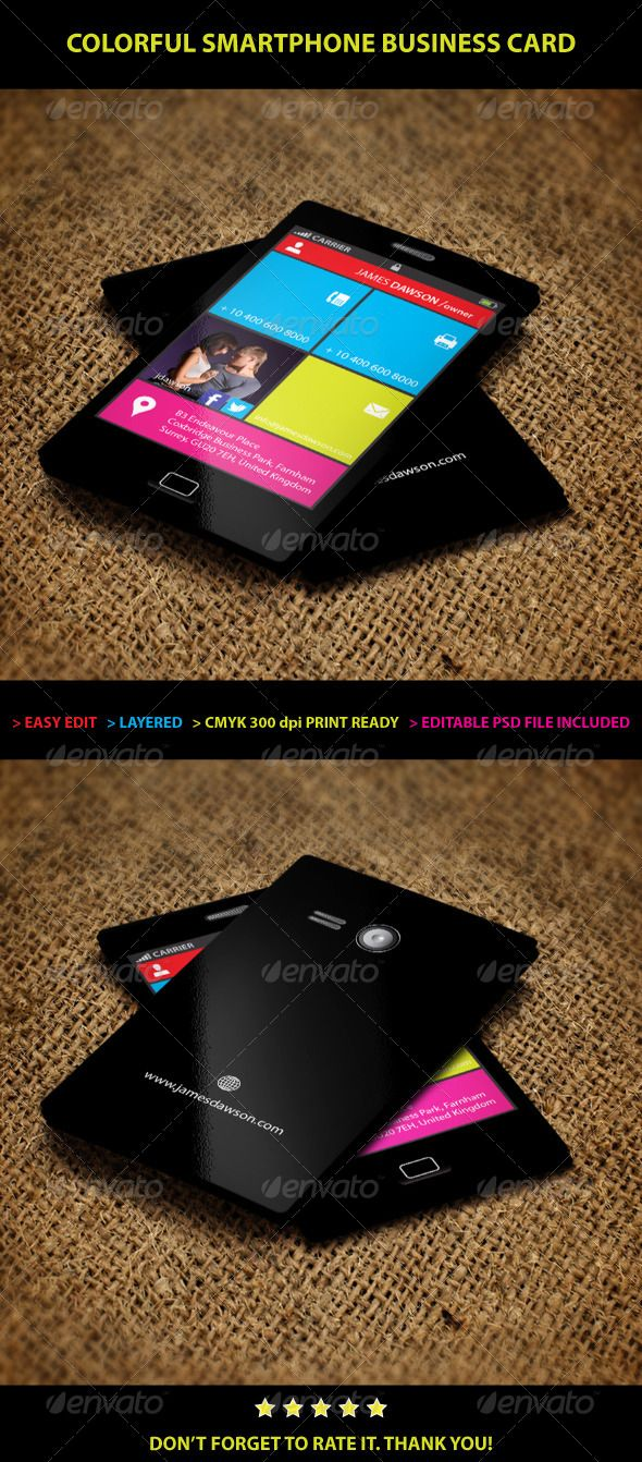 Colorful Smartphone Business card | Business cards, Smartphone and ...