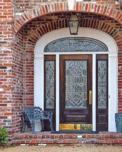 Leaded Glass Front Door With Arch Top Transom And