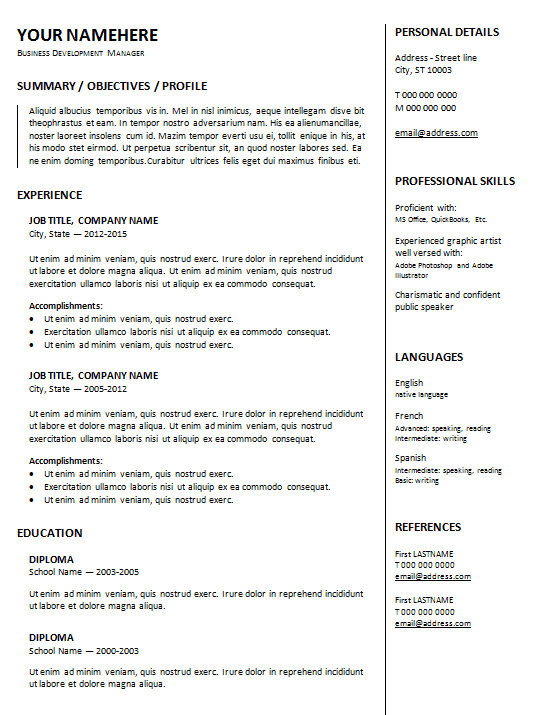 2 Column Resume Templates Resumetemplates