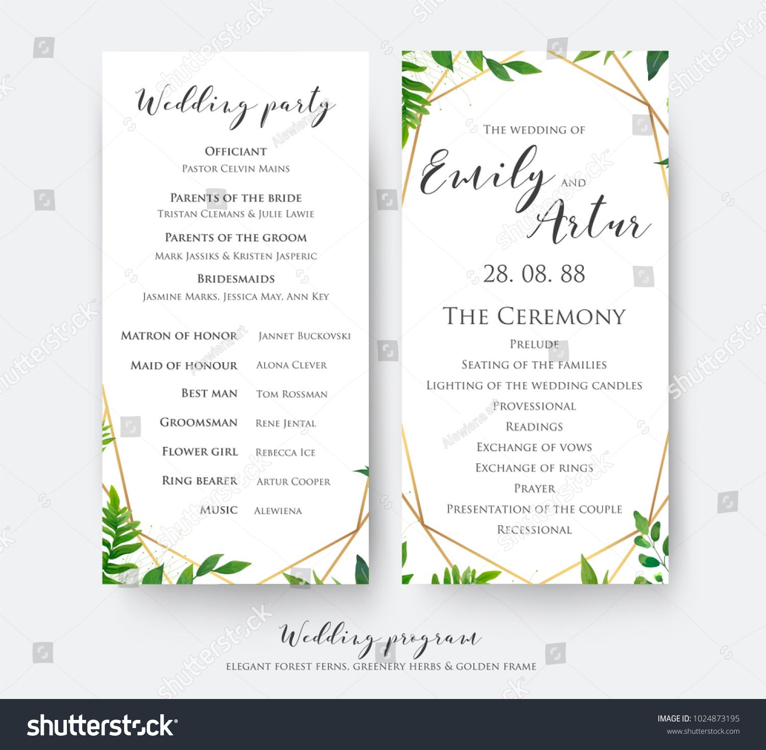 Wedding program card for ceremony and party with modern vector wedding program card for ceremony and party with modern vector floral botanical design with stopboris Images