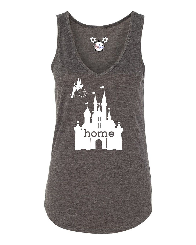 94791460588 Women s Disney Is My Home V-Neck Tank - Dark Heather Grey ...