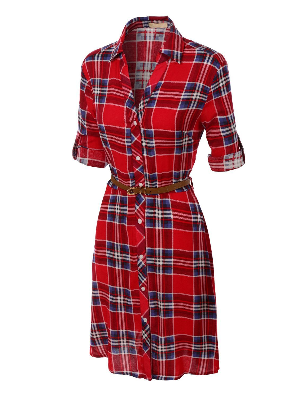 7258608b Women's Flowy Button Down Plaid Shirt Dress with Faux Leather Belt | $24.00  ༻⚜༺ ❤ ༻⚜༺