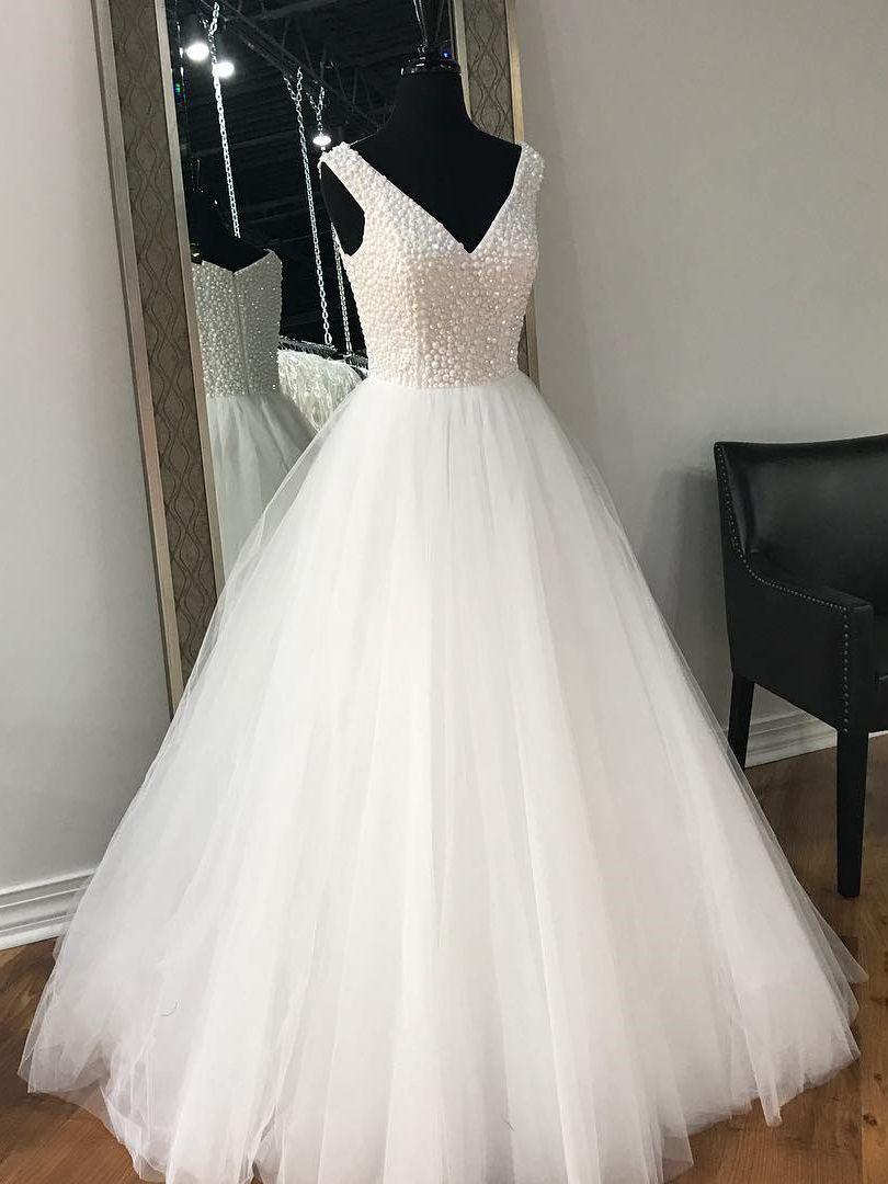 Elegantan v neck beaded bijela haljina haljina ball haljina